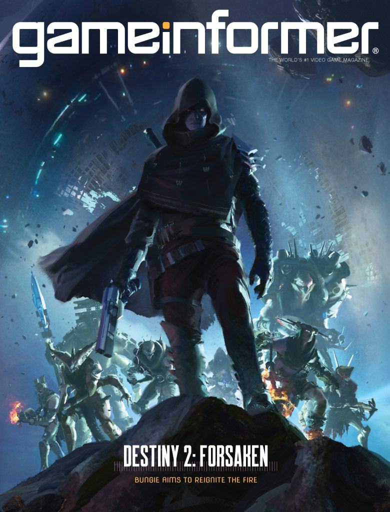 Cover for Game Informer magazine showing cloaked man for game Destiny 2