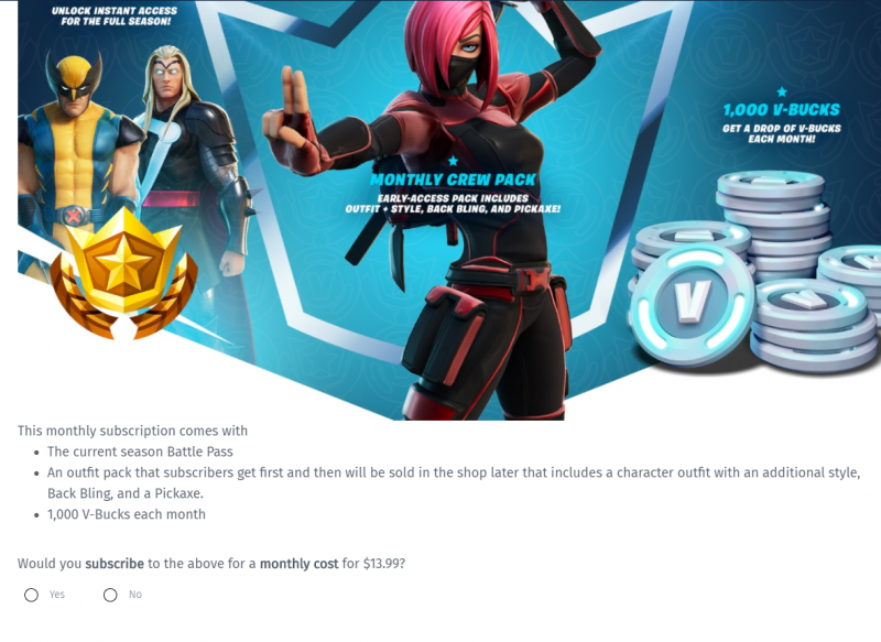 epic asks fortnite players about possible monthly subscription reception surprisingly positive game informer epic asks fortnite players about