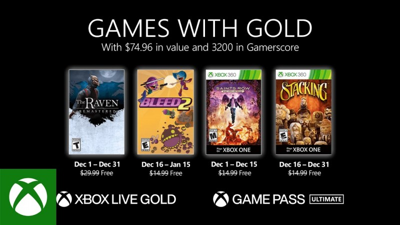 Xbox Games With Gold December 2020 Free Games Revealed