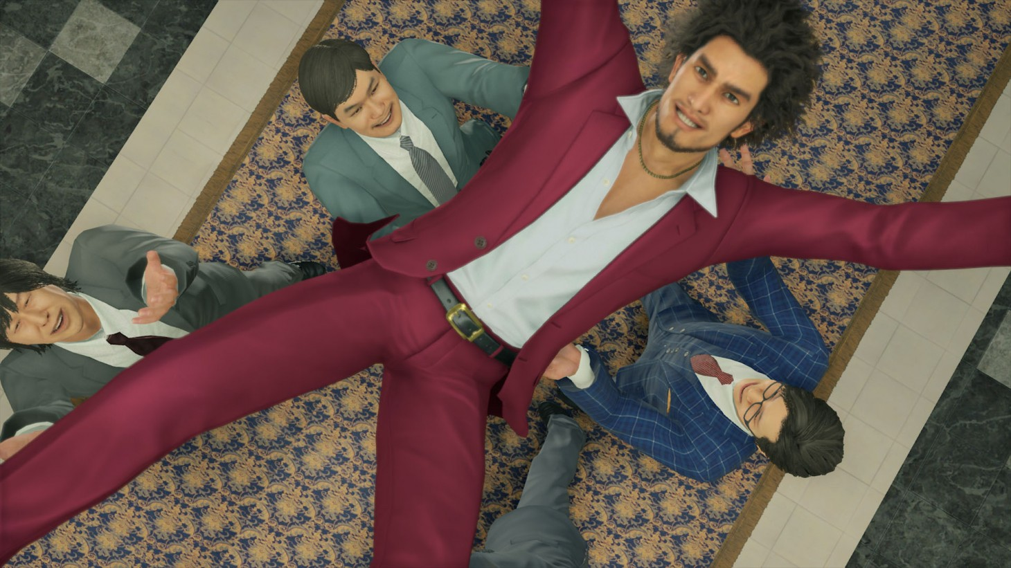 Yakuza: Like a Dragon. Ichiban Kasuga is lifted and tossed into the air in celebration of passing a college exam.