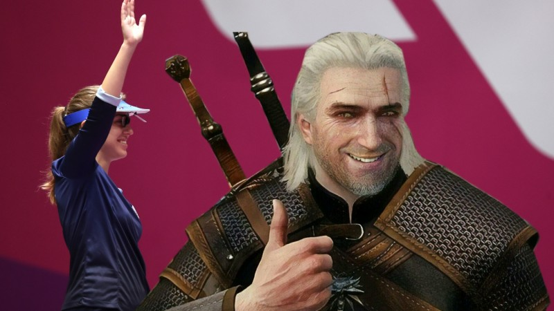 Olympic Gold Medalist Rocks The Witcher Medallion During This Year's Tokyo Olympics